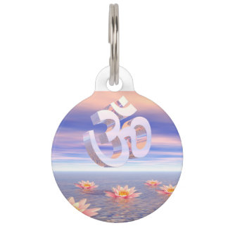 Aum - om upon waterlilies - 3D render Pet ID Tag