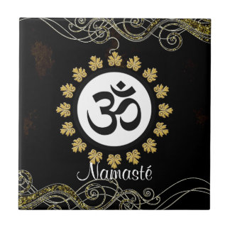 Aum Symbol Mantra Meditation Black and Gold Small Square Tile