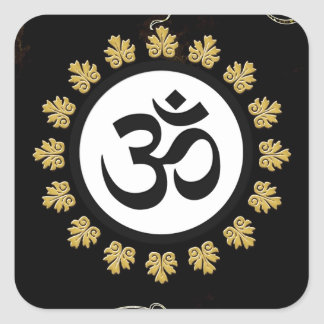 Aum Symbol Mantra Meditation Black and Gold Square Sticker