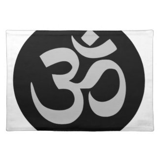 Aum Symbol, Silver and Black Placemat