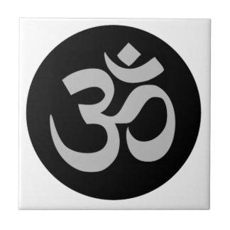 Aum Symbol, Silver and Black Tile