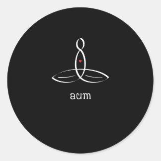 Aum - White Fancy style Round Stickers