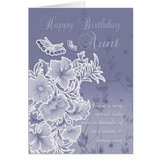 Aunt, Birthday Card With Flowers And Butterflies