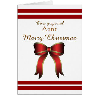 Aunt / Merry Christmas - Red / Gold Bow Greeting Card