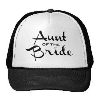 Aunt of Bride Black on White Cap