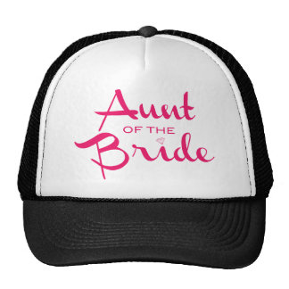 Aunt of Bride Hot Pink on White Cap