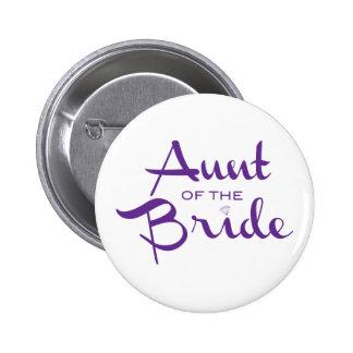 Aunt of Bride Purple on White 6 Cm Round Badge
