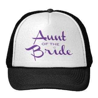 Aunt of Bride Purple on White Cap