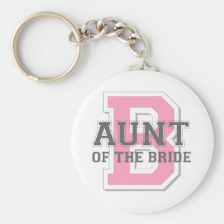 Aunt of the Bride Cheer Basic Round Button Key Ring
