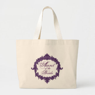 Aunt of the Bride PURPLE Vintage Frame Jumbo Tote Bag