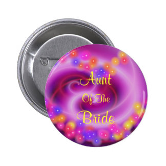 Aunt Of The Bride Swirly Heart Button