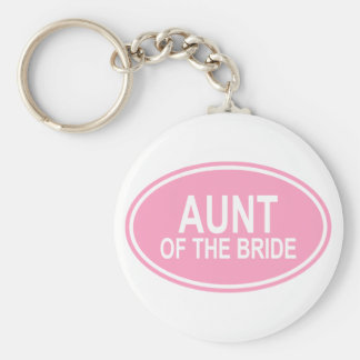 Aunt of the Bride Wedding Oval Pink Basic Round Button Key Ring