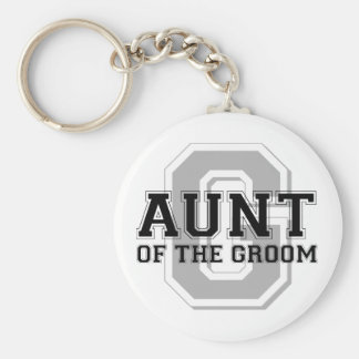 Aunt of the Groom Cheer Basic Round Button Key Ring