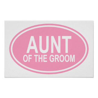 Aunt of the Groom Wedding Oval Pink Print