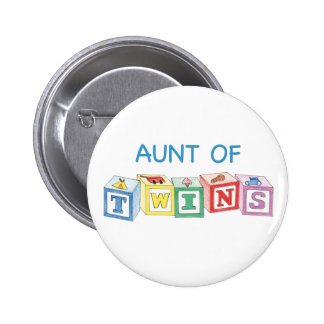 Aunt of Twins Blocks 6 Cm Round Badge