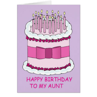 Aunt pink birthday cake card