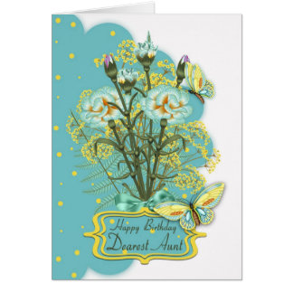 aunt, summer color birthday card with carnations