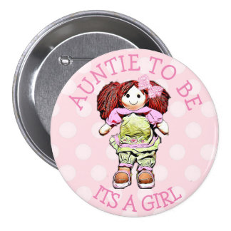 Aunt to be Pink Doll Baby Shower Button