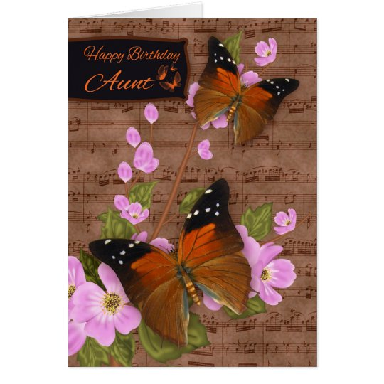 Aunt, with Flipper Butterfly On Pink Apple Blossom Card