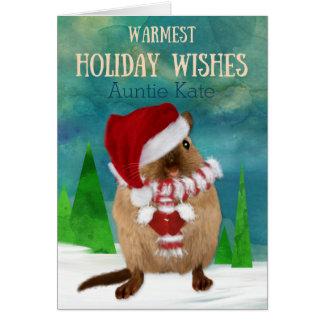 Auntie Christmas Gerbil Santa Hat in Winter Card