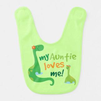Auntie Loves Me Baby Boy Dinosaur Bib