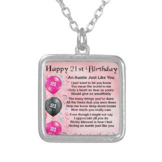 Auntie Poem 21st Birthday Personalised Necklace