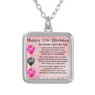 Auntie Poem 30th Birthday Silver Plated Necklace
