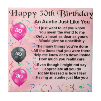 Auntie Poem 30th Birthday Small Square Tile