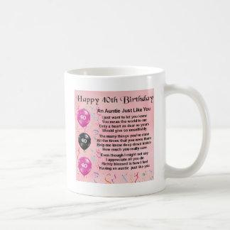 Auntie Poem - 40th Birthday Basic White Mug