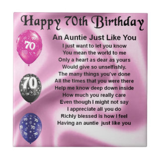 Auntie Poem - 70th Birthday Ceramic Tile