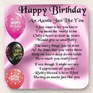 Auntie Poem - Happy Birthday Coaster
