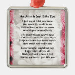 Auntie poem - Pink Floral design Silver-Colored Square Decoration