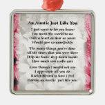 Auntie poem - Pink Floral design Silver-Colored Square Decoration