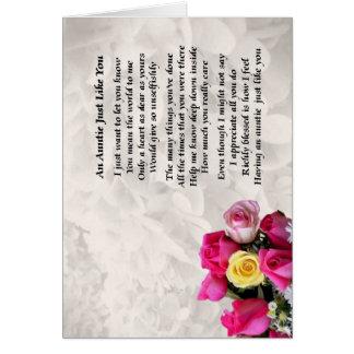 Auntie Poem - Roses design Card