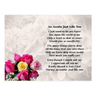 Auntie Poem - Roses design Postcard