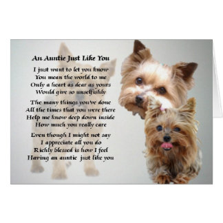 Auntie Poem - Yorkshire terrier Card