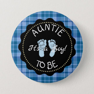 AUNTIE to be  Blue Plaid Baby Shower button