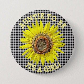 Auntie to be, ITS A GIRL Sunflower Baby Shower 7.5 Cm Round Badge