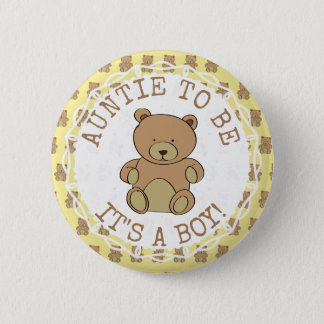 Auntie to be Teddy Bear Its a Boy Button
