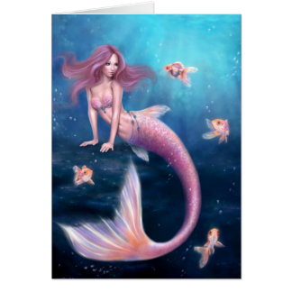 Aurelia Goldfish Mermaid Art Greeting Card