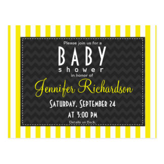 Aureolin Yellow Stripes Baby Shower Post Cards