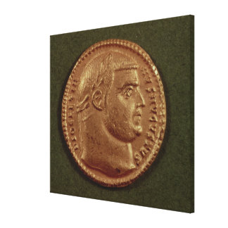 Aureus  of Diocletian  wearing a laurel wreath Gallery Wrap Canvas