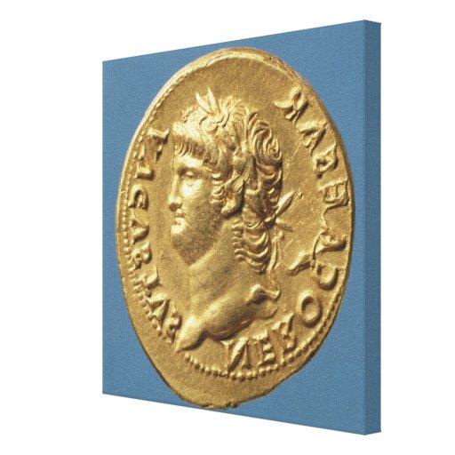 Aureus  of Nero  wearing a laurel wreath Stretched Canvas Print