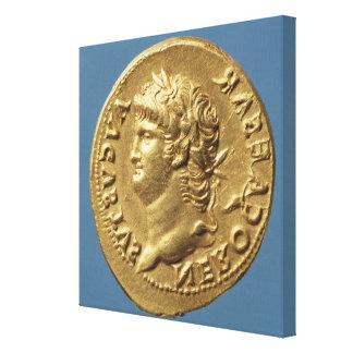 Aureus  of Nero  wearing a laurel wreath Gallery Wrapped Canvas