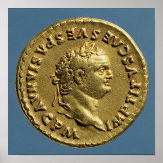 Aureus  of Nero  wearing a laurel wreath Poster