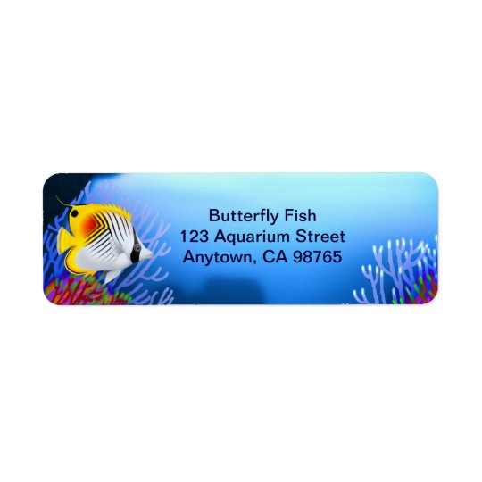 Auriga Threadfin Butterfly Fish Customisable Label Return Address Label
