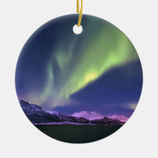 Aurora Borealis above Lyngenfjorden Norway Ceramic Ornament