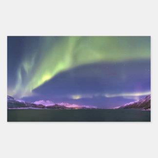 Aurora Borealis above Lyngenfjorden Norway Rectangular Sticker