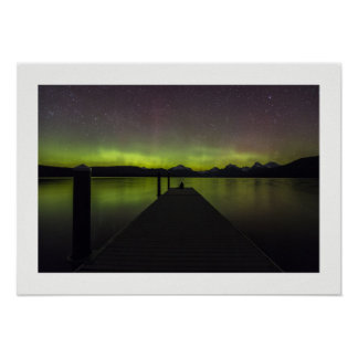 Aurora Borealis At Night Poster