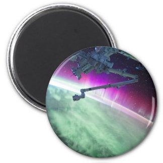 Aurora Borealis from space 6 Cm Round Magnet